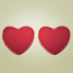 Love Heart Shape Stud Earrings 925 Silver Post red